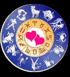 Roda de signos com coração no centro